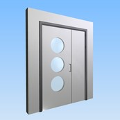 CS Acrovyn® Impact Resistant Doorset - Unequal pair with type VP7 Vision Panel