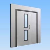 CS Acrovyn® Impact Resistant Doorset - Unequal pairwith type VP4 Vision Panel