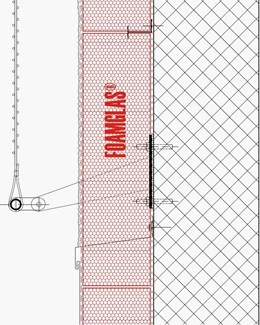 2.1.1 - Facade - Foamglas Insulation with Fixing Positions for Metal Lattice or Fabric Cladding