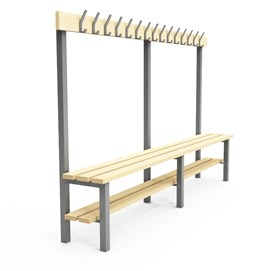 Single Sided Cloakroom/Changing Room Bench with shoe rack - H1S
