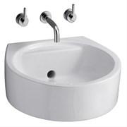 White Round 45 cm Back Outlet Washbasin