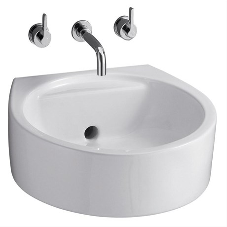White Round 45 cm Back Outlet Washbasin