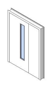 Internal Uneven Door, Vision Panel Style VP03