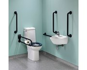 DocM Rimless Super Pack Left Hand Grab Rails & Seat - Multicolor - Accessible WC Doc M equipment packages