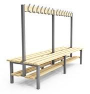 Double Sided Cloakroom/Changing Room Bench with shoe rack - H2S