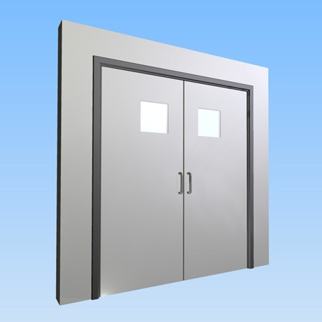 CS Acrovyn® Impact Resistant Doorset - Double leaf with type VP9 Vision Panel
