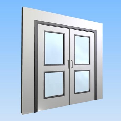 CS Acrovyn® Impact Resistant Doorset - Double with type VP2 Vision Panels