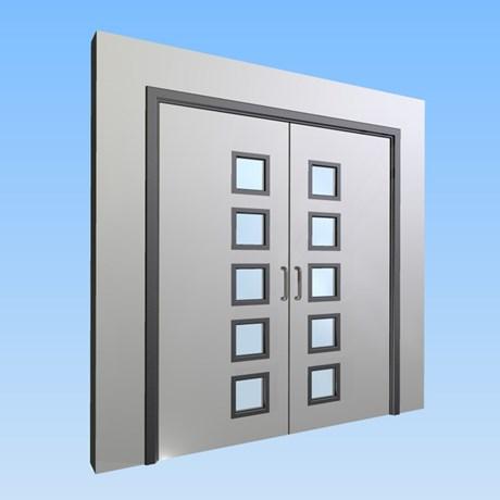 CS Acrovyn® Impact Resistant Doorset - Double with type VP5 Vision Panels