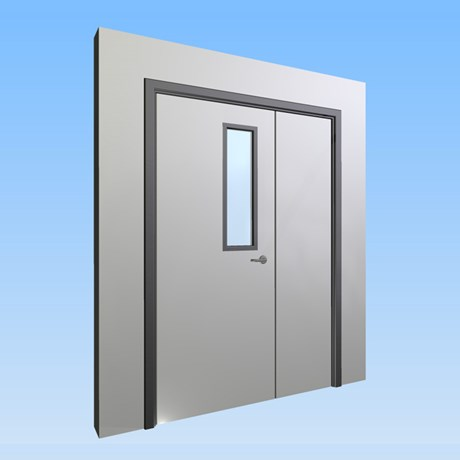 CS Acrovyn® Impact Resistant Doorset - Unequal pairwith type VP3 Vision Panel