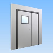 CS Acrovyn® Impact Resistant Doorset - Unequal pair leaf with type VP8 Vision Panel