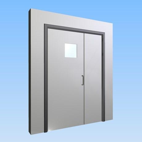 CS Acrovyn® Impact Resistant Doorset - Unequal pair leaf with type VP9 Vision Panel