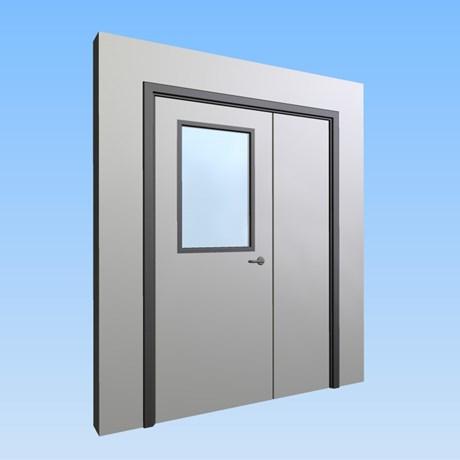 CS Acrovyn® Impact Resistant Doorset - Unequal pair with type VP1 Vision Panel