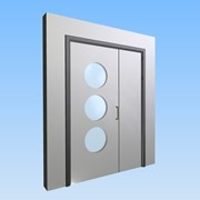 CS Acrovyn® Impact Resistant Doorset - Unequal pair with type VP7 Vision Panel