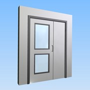 CS Acrovyn® Impact Resistant Doorset - Unequal pair with type VP2 Vision Panel