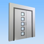 CS Acrovyn® Impact Resistant Doorset - Unequal pairwith type VP5 Vision Panel