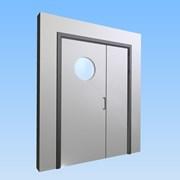 CS Acrovyn® Impact Resistant Doorset - Unequal pairwith type VP6 Vision Panel
