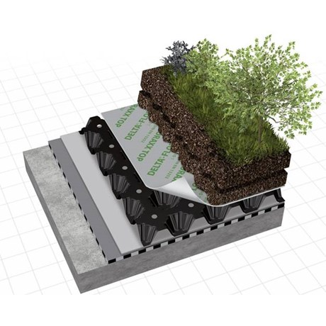 DELTA® FLORAXX TOP in warm roofs with extensive/intensive herbaceous covers
