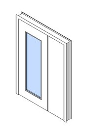 Internal Uneven Door, Vision Panel Style VP04
