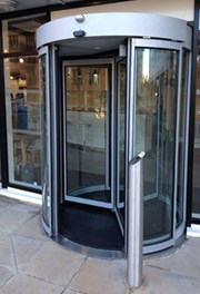 GyroSec FW Motorized Security Revolving Door - Semi-external, 3 wings and shutters