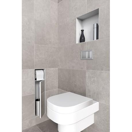 Brush Holder and Paperholder Tileable Door - Toilet roll holder