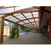 Tarnhow Curved Wall Mounted Timber Canopy - Polycarbonate Roof