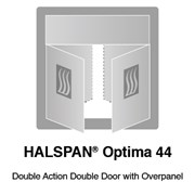HALSPAN® Optima 44 mm Internal Fire Rated Door Blank - Double Acting Double Doors With Overpanel