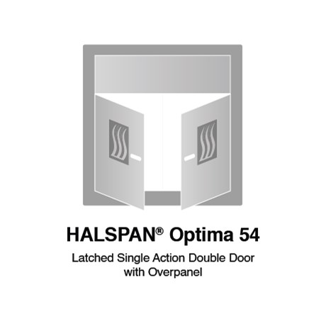 HALSPAN® Optima 54 mm Internal Fire Rated Door Blank - Latched Single Acting Double Doors With Overpanel