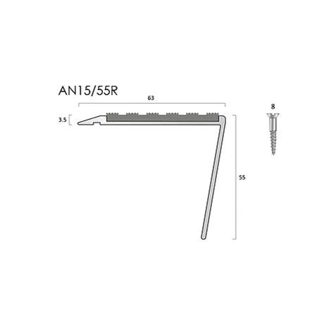 AN15/55/13 aluminium stair nosings