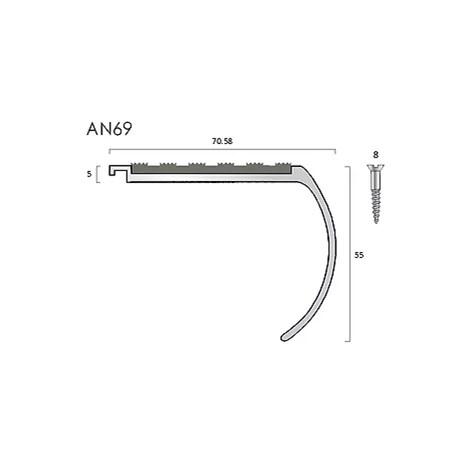 AN69 aluminium stair nosings