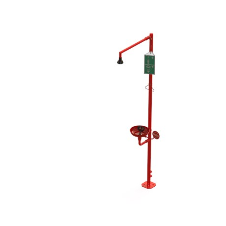 Freestanding Emergency Body Drench shower with eye/face shower and bowl, modular