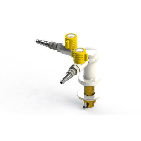 Table mounted laboratory two-way gas tap with quick release couplings
