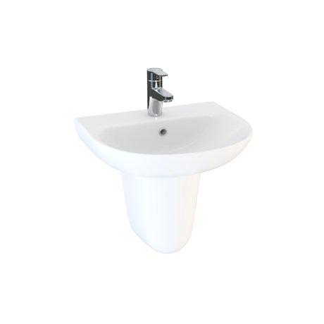 Designer Series 5 45 cm 1TH basin and semi pedestal