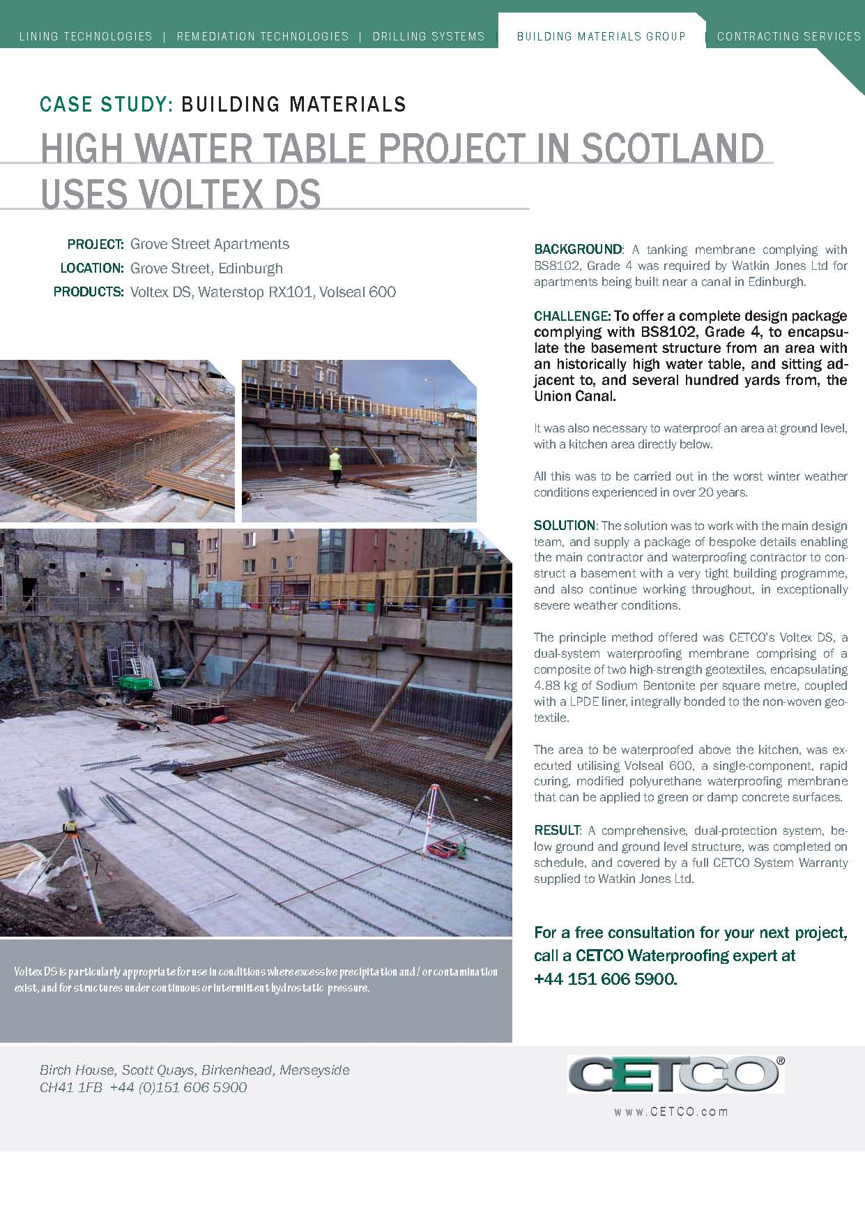 high water table project in scotland uses voltex ds