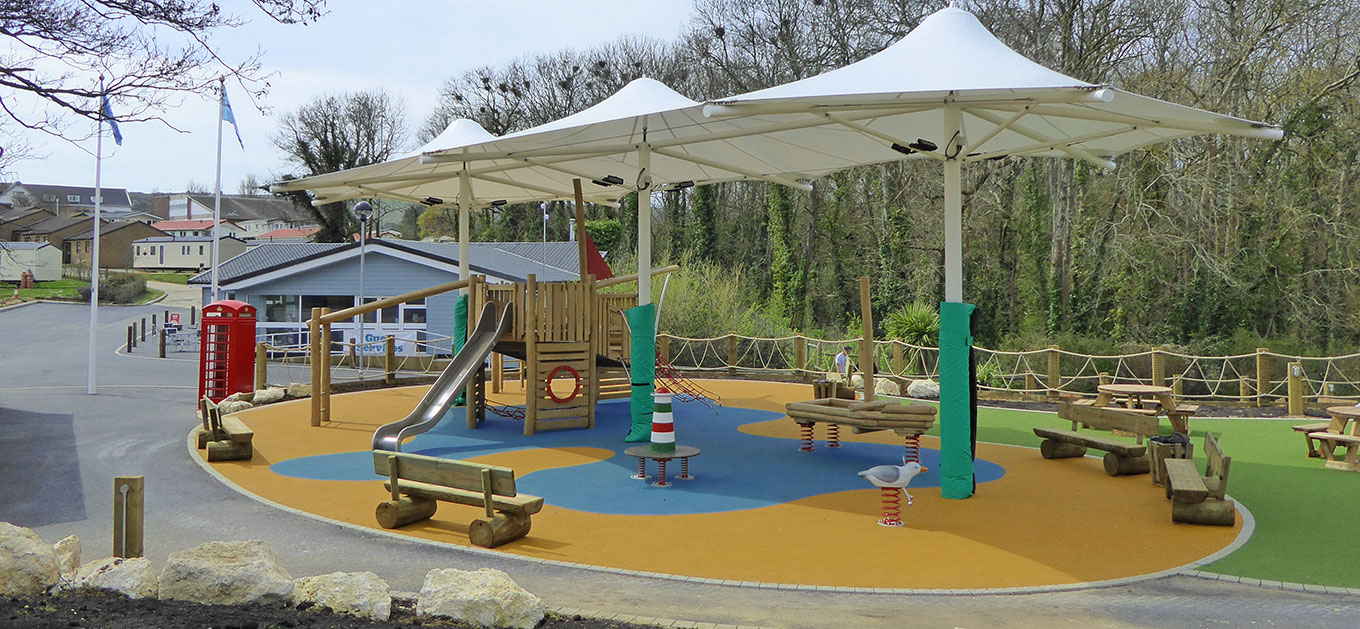 Tensile canopy structure for a Holiday Park