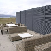 Portavadie Marina Resort: A 2.5m high screen of Italia-100 panels was installed to provide 100% visual screening.