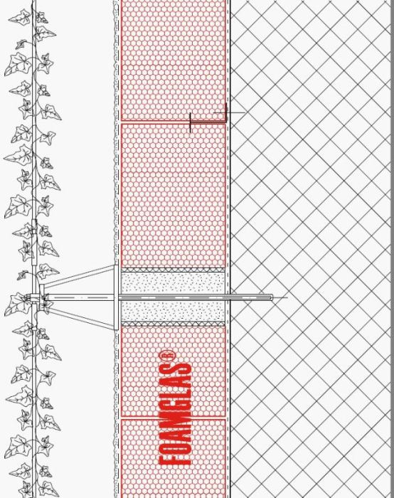 2.1.2 Façade - Foamglas Insulation with Fixing Positions for Planting (Wire Trellis)