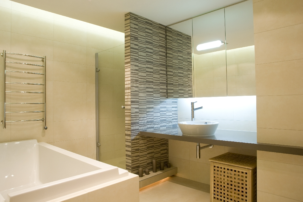 bathroom illuminated using hidden led strip