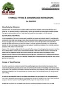 Storage Fitting and Maintenance Instructions