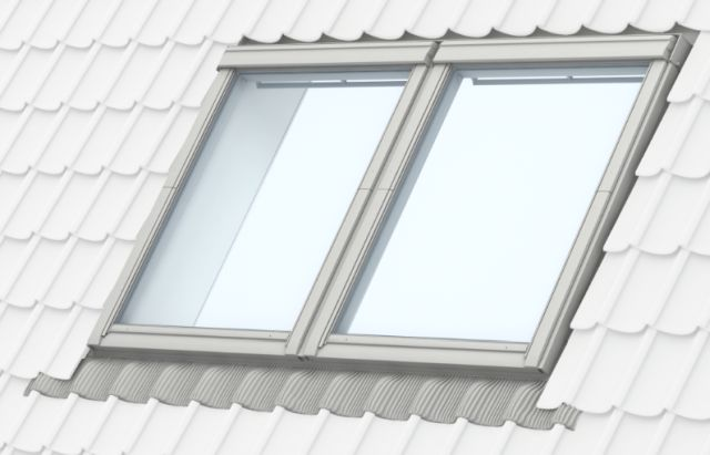 GPU manually operated, white polyurethane, top-hung roof window, twin installation