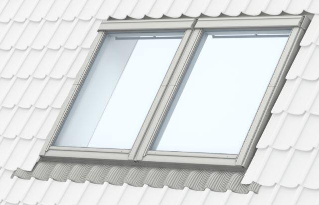 GPU top-hung roof window, close coupled, white polyurethane, manually operated