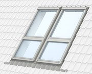 GPL manually operated, top-hung roof window, with GIL sloping fixed windows below, combination installation