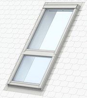 GPU manually operated, white polyurethane top-hung roof window with GIU sloping fixed window below