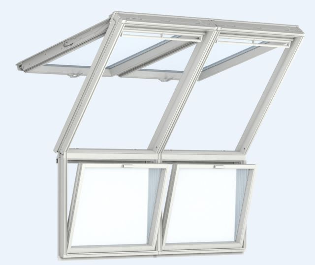 GPL manually operated, top-hung roof windows with vertical windows below, twin installation