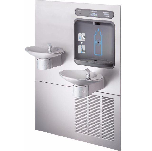 Architectural Style Bottle Filler / Double Drinking Fountain - Halsey Taylor HTHBWF-OVLSER-I