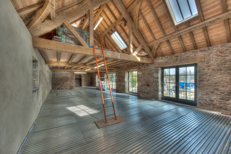 Redevelopment of Insworke Mill, Lewis Decking used for acoustics and under floor heating