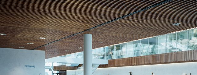 Solid Linear Wood Grid Ceiling System Hunter Douglas