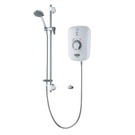 Safeguard+ Thermostatic RNIB BEAB Care Electric Shower with Grab Riser Rail Kit